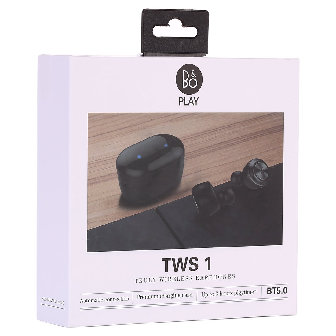 Air Twins TWS1 Bluetooth V5.0 Wireless Stereo Earphones with Magnetic Charging Box (Black)