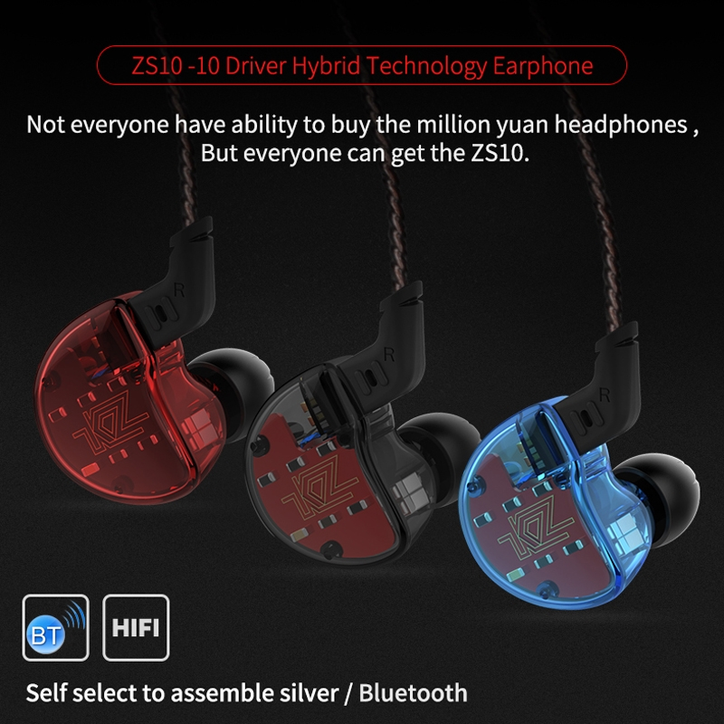 KZ AS10 Ten Unit Moving Iron In-ear Bluetooth HiFi Earphone with Microphone (Red)