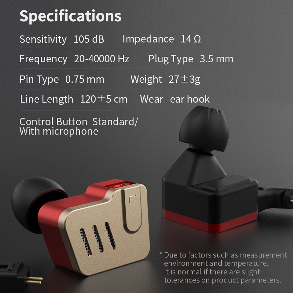 KZ BA10 Ten Unit Moving Iron Metal In-ear Universal Wired Control Earphone with Microphone (Gold)