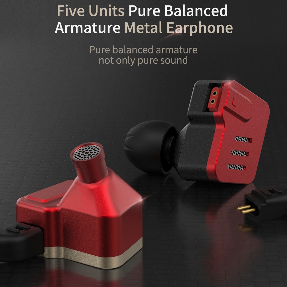 KZ BA10 Ten Unit Moving Iron Metal In-ear Universal Wired Control Earphone without Microphone (Red)