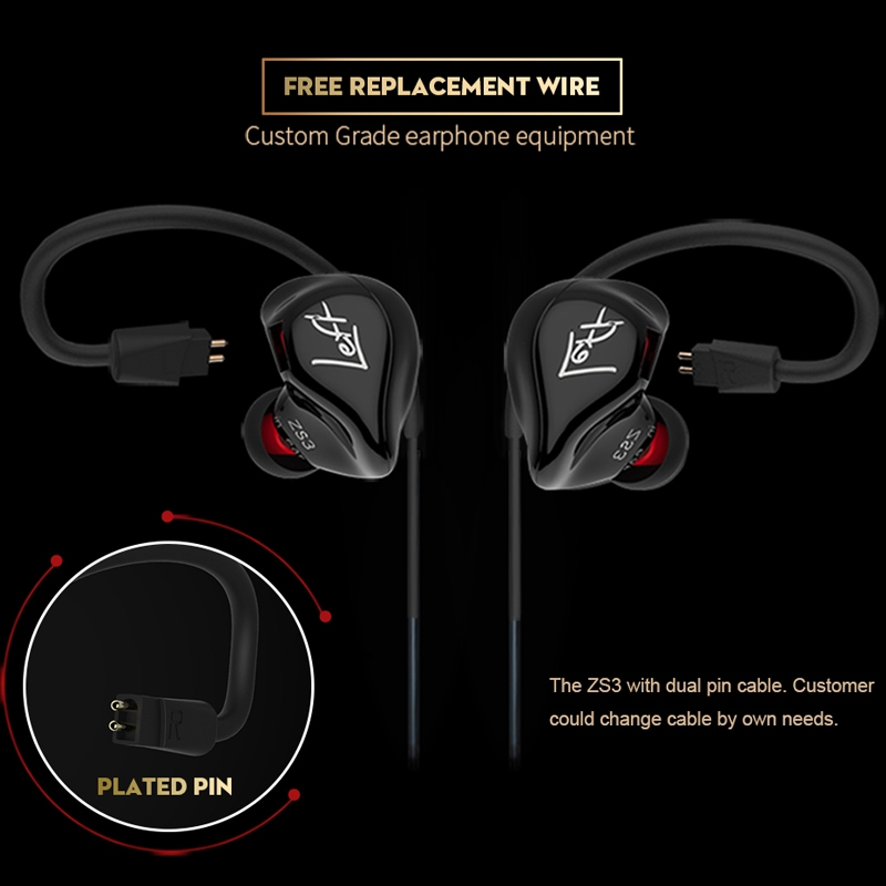 KZ ZS3 Wire-controlled In-ear Mega Bass HiFi Earphone with Microphone (Black)