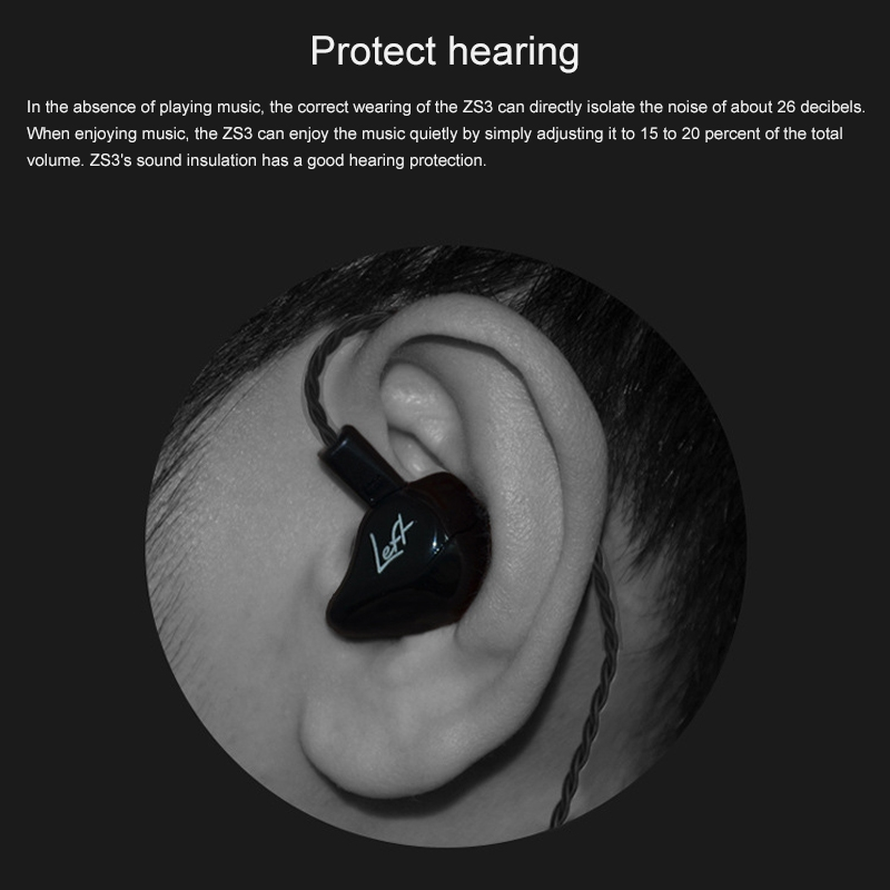 KZ ZS3 Wire-controlled In-ear Mega Bass HiFi Earphone without Microphone (Black)