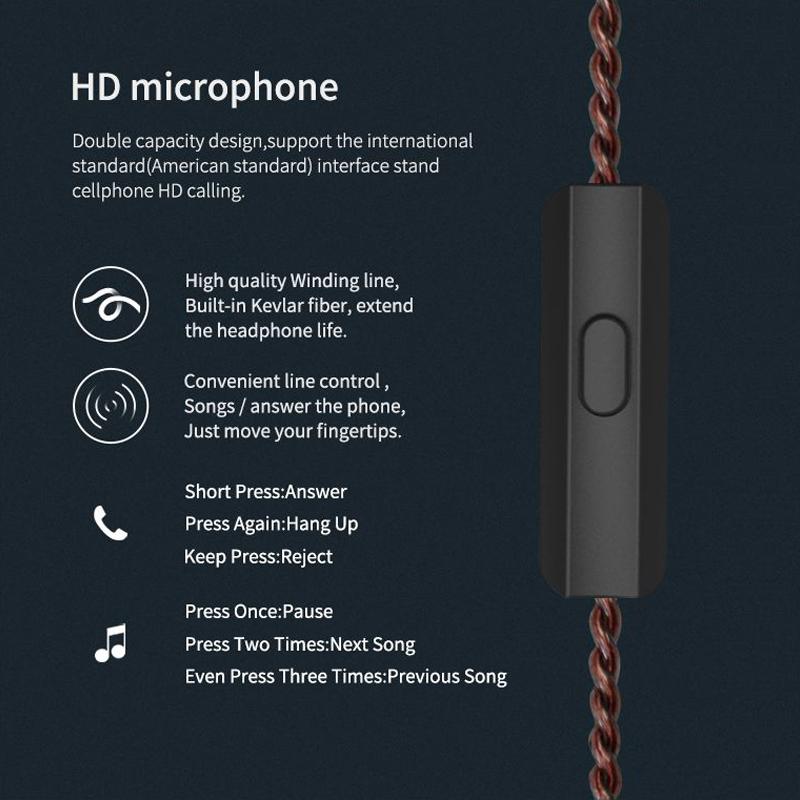 KZ ZS10 Ten Unit Circle Iron In-ear Mega Bass HiFi Earphone with Microphone (Red)