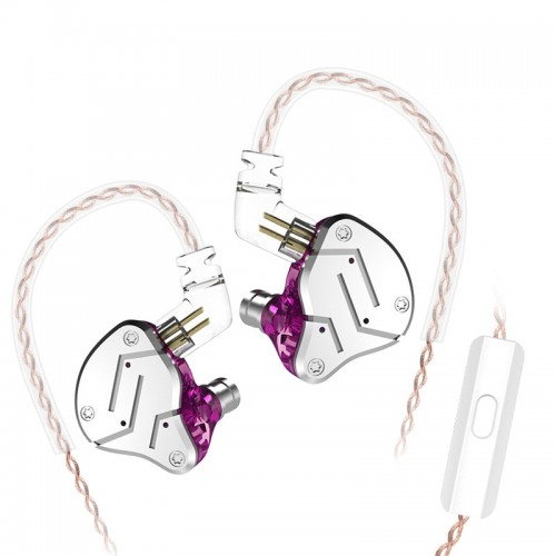KZ ZSN Circle Iron Moving Iron Quad-core Wired Control In-ear Mega Bass HiFi Earphone with Microphone (Purple)