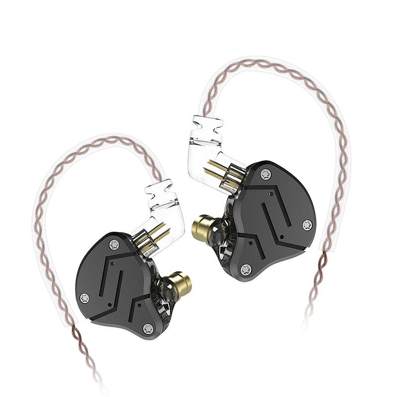 KZ ZSN Circle Iron Moving Iron Quad-core Wired Control In-ear Mega Bass HiFi Earphone without Microphone (Black)