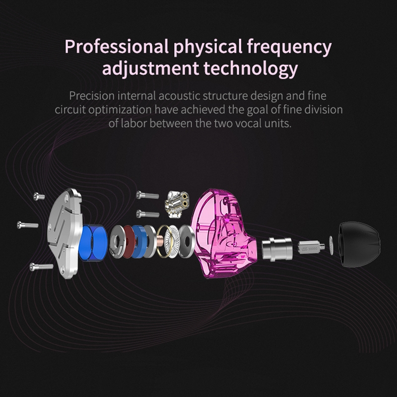 KZ ZSN Circle Iron Moving Iron Quad-core Wired Control In-ear Mega Bass HiFi Earphone without Microphone (Purple)