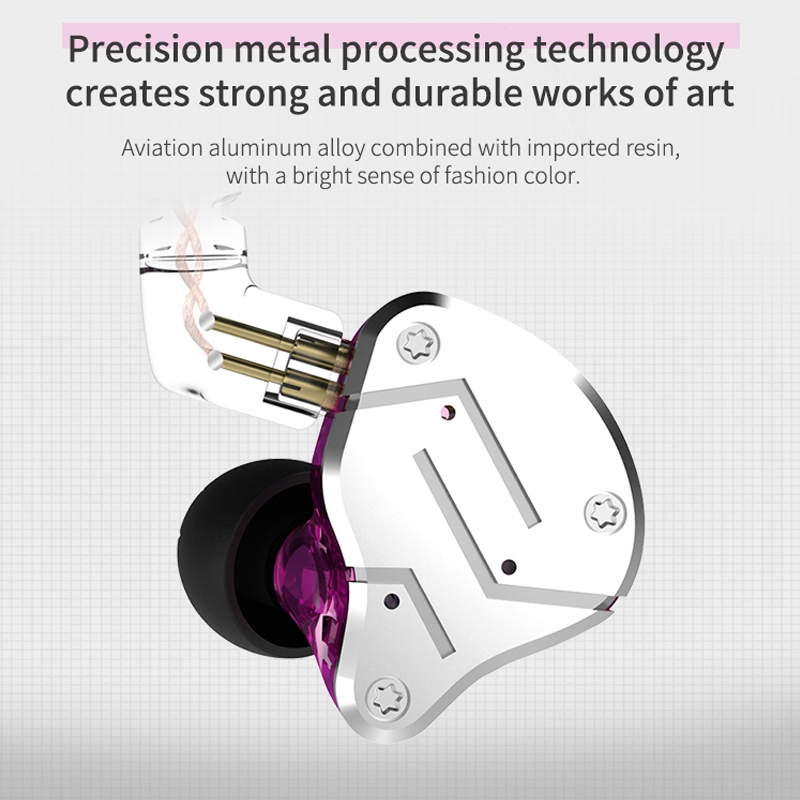 KZ ZSN Circle Iron Moving Iron Quad-core Wired Control In-ear Mega Bass HiFi Earphone without Microphone (Cyan)