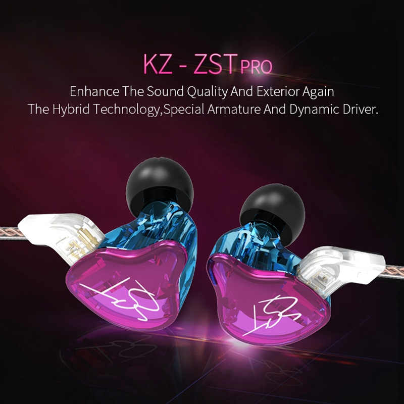 KZ ZST Circle Iron In-ear Mega Bass MP3 Dual Unit Earphone without Microphone (Carbon Fiber Black)