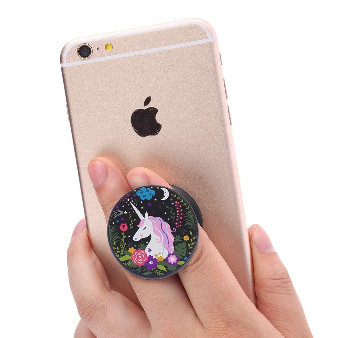 Multi-Function Unicorn Pattern Universal Phone Holder Expanding Stand Grip Clamp Rope Stand for Smartphones