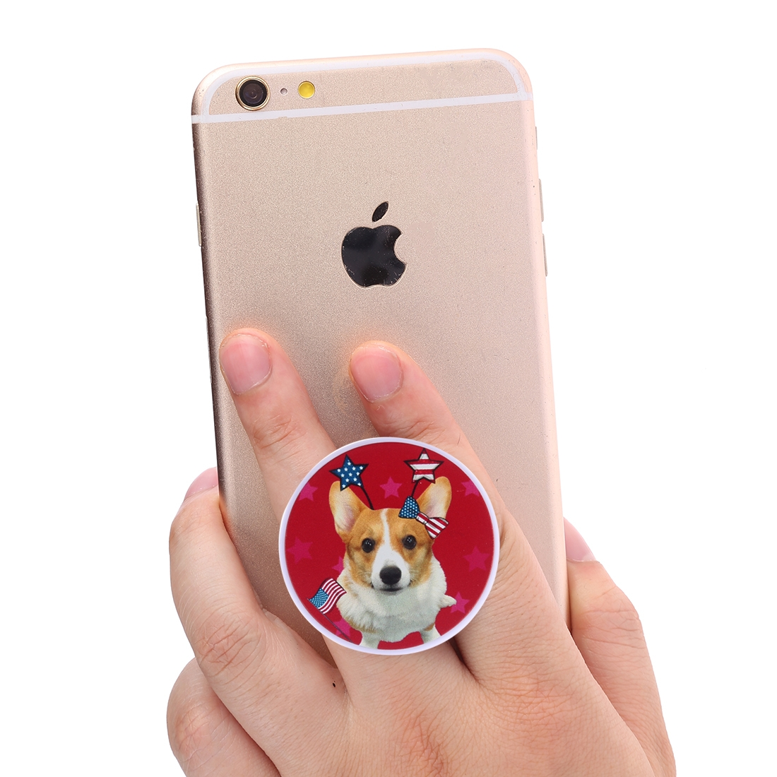 Multi-Function Dog Pattern Universal Phone Holder Expanding Stand Grip Clamp Rope Stand for Smartphones