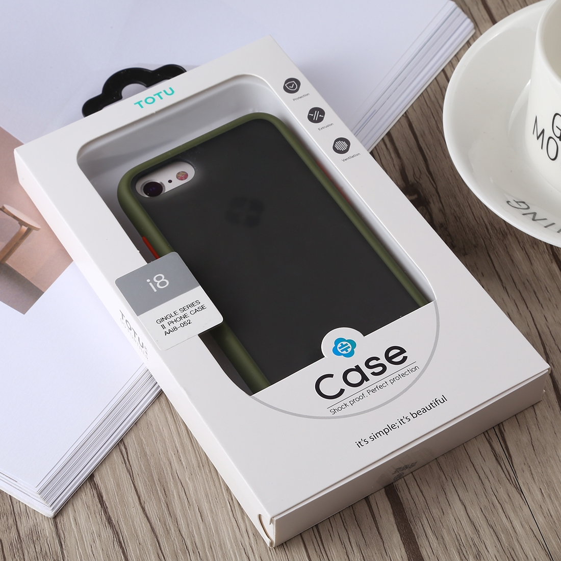 TOTUDESIGN Gingle Series II Shockproof TPU+PC Case for iPhone 8 & 7 (Army Green)