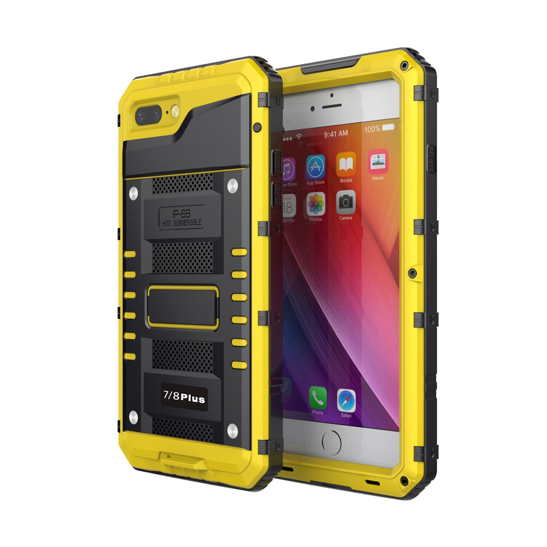 new styles 66990 8f288 Waterproof Dustproof Shockproof Zinc Alloy + Silicone Case for iPhone 8  Plus & 7 Plus (Yellow)