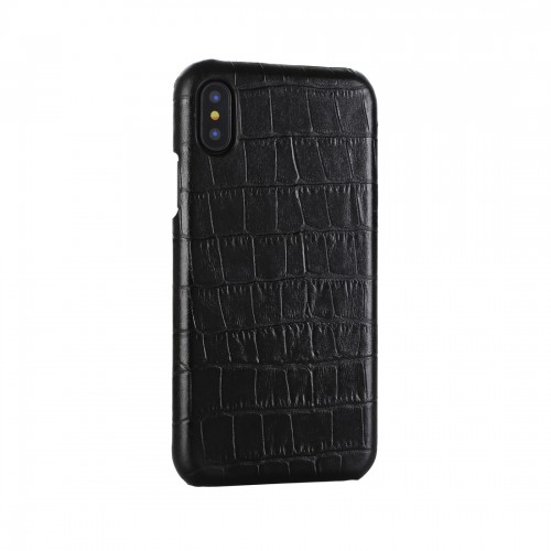 Business Style Crocodile Texture Shockproof Cowhide Protective Case for iPhone XS Max (Black)