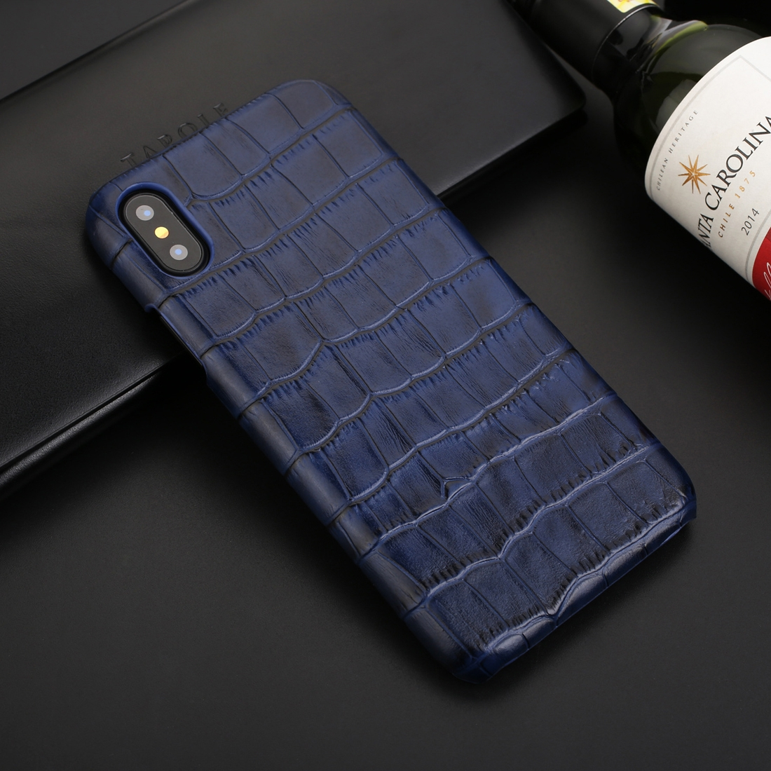 Business Style Crocodile Texture Shockproof Cowhide Protective Case for iPhone XS Max (Blue)