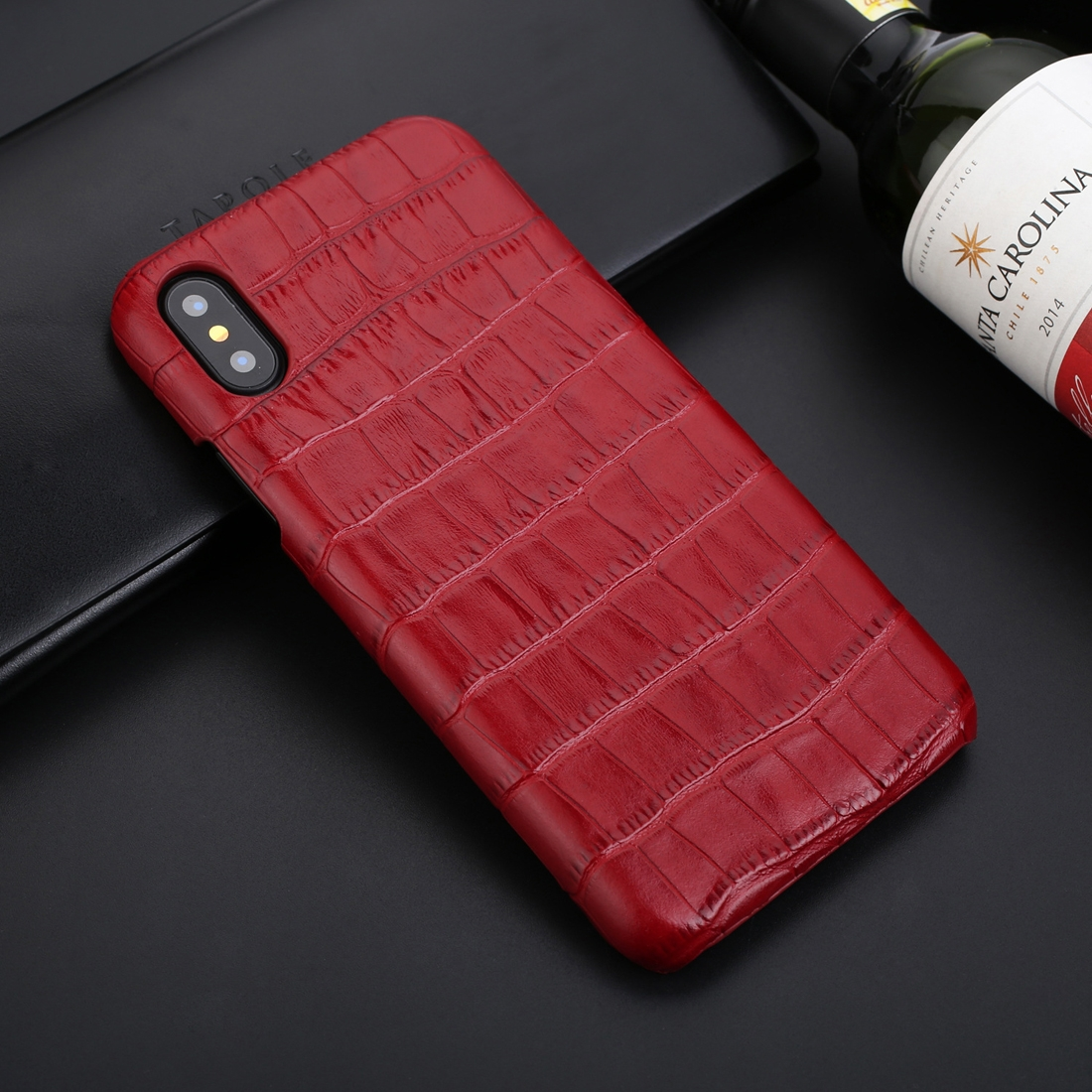 Business Style Crocodile Texture Shockproof Cowhide Protective Case for iPhone XS Max (Red)