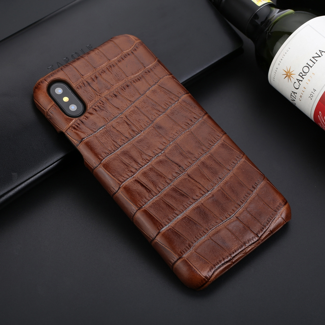 Business Style Crocodile Texture Shockproof Cowhide Protective Case for iPhone XS Max (Brown)