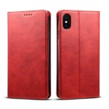 Suteni Calf Texture Horizontal Flip Leather Case for iPhone XS Max with Holder & Card Slots & Wallet (Red)