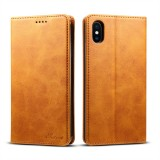 Suteni Calf Texture Horizontal Flip Leather Case for iPhone XS Max with Holder & Card Slots & Wallet (Brown)