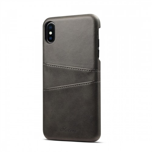 Suteni Calf Texture Protective Case for iPhone XS Max with Card Slots (Black)