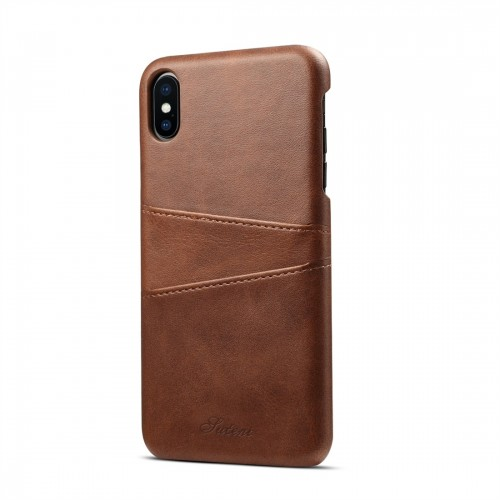 Suteni Calf Texture Protective Case for iPhone XS Max with Card Slots (Coffee)