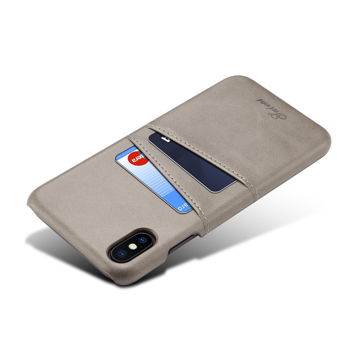 Suteni Calf Texture Protective Case for iPhone XS Max with Card Slots (Grey)