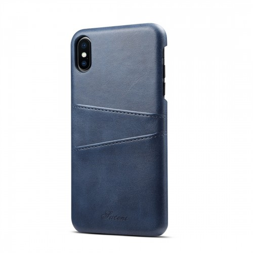 Suteni Calf Texture Protective Case for iPhone XS Max with Card Slots (Blue)