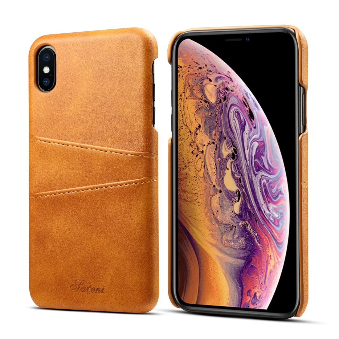 Suteni Calf Texture Protective Case for iPhone XS Max with Card Slots (Brown)