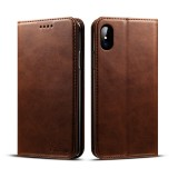 Suteni Calf Texture Horizontal Flip Leather Case for iPhone X / XS with Holder & Card Slots & Wallet (Coffee)