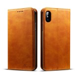 Suteni Calf Texture Horizontal Flip Leather Case for iPhone X / XS with Holder & Card Slots & Wallet (Brown)