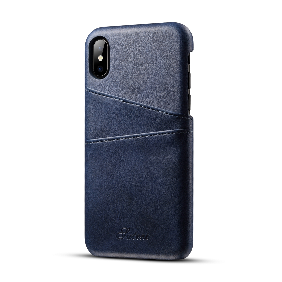 size 40 2bd09 5b73f Suteni Calf Texture Protective Case for iPhone X / XS with Card Slots (Blue)