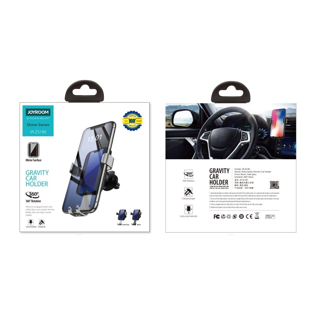 JOYROOM ZS-180 Blue Light Car Tempered Glass Dashboard Gravity Bracket (Grey)