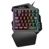 HXSJ V100 Universal One-hand 35-Keys Mechanical Blue Axis Seven-color Backlight Wired Gaming Keyboard, Length: 1.6m
