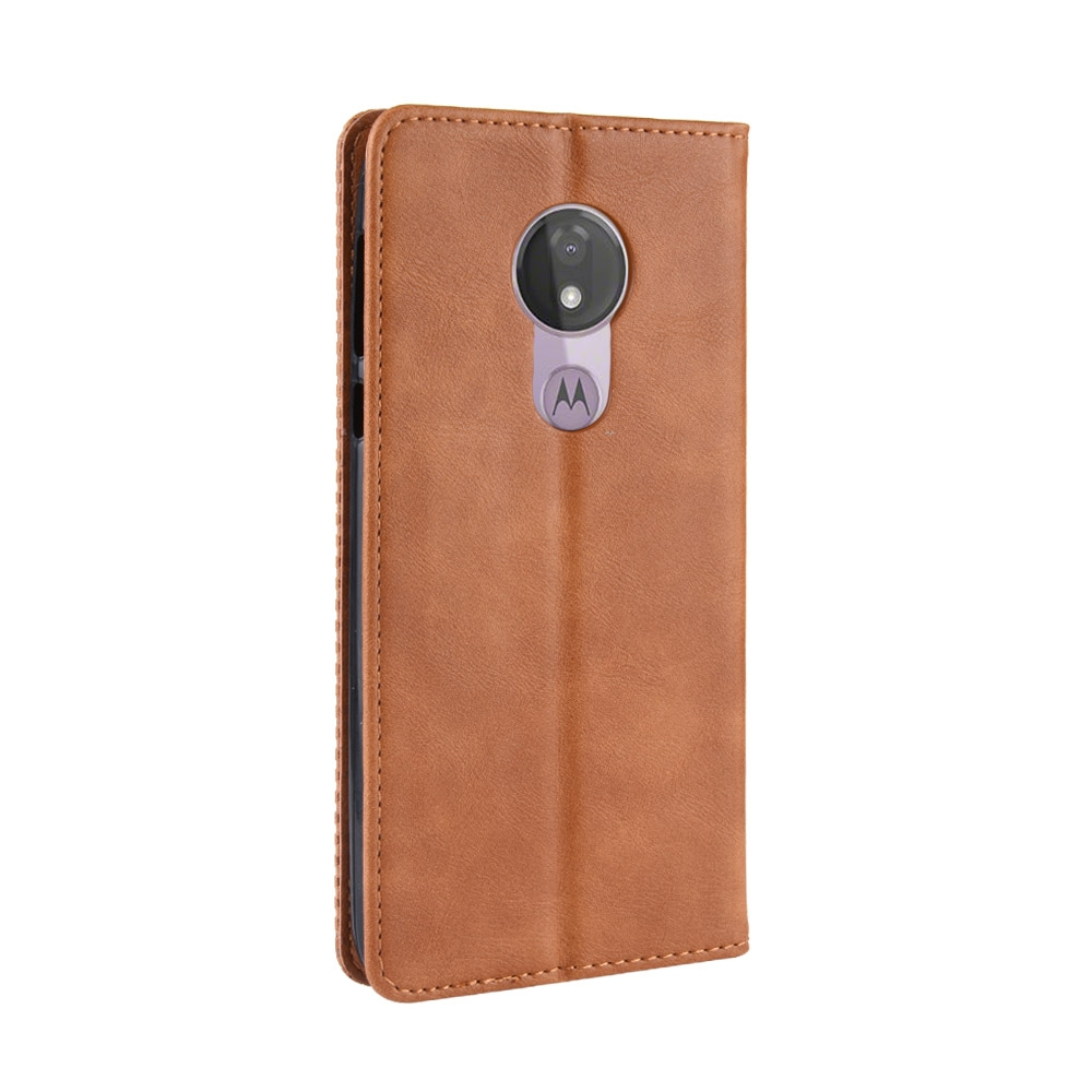 Magnetic Buckle Retro Texture Horizontal Flip Leather Case for Motorola Moto G7 Power (EU Version) with Holder & Card Slots & Wallet (Brown)