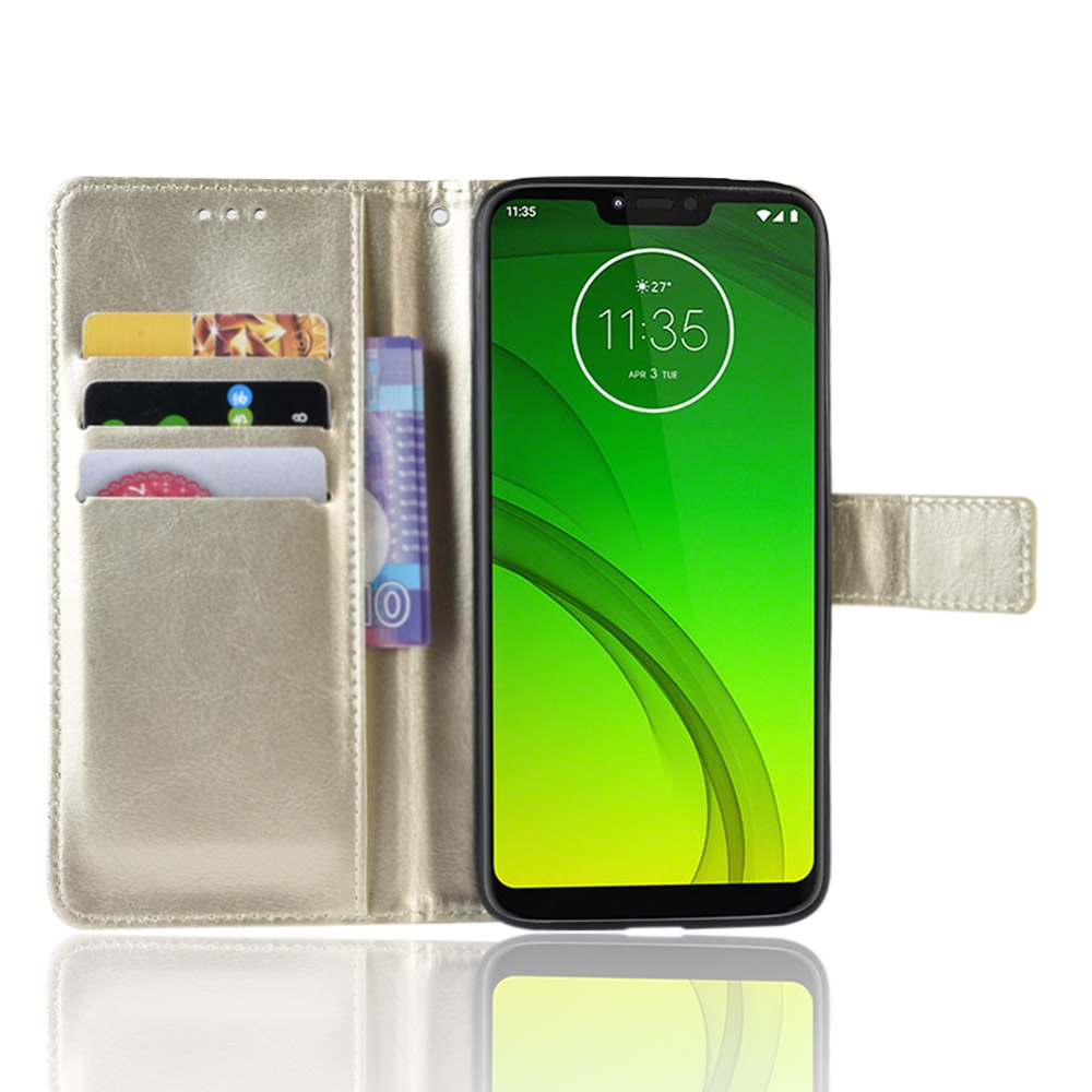 Crazy Horse Texture Horizontal Flip Leather Case for Motorola Moto G7 Power (EU Version) with Holder & Card Slots & Wallet (Gold)