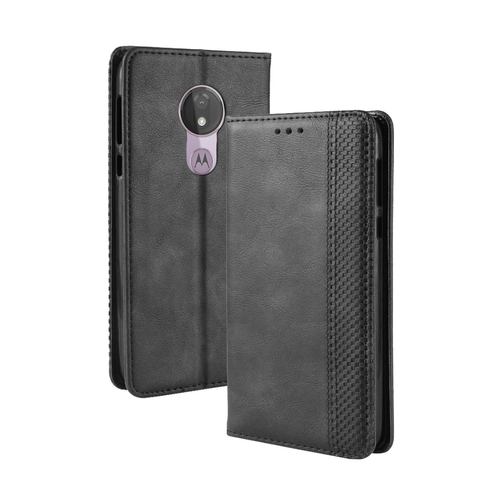 Magnetic Buckle Retro Texture Horizontal Flip Leather Case for Motorola Moto G7 Power (US Version) with Holder & Card Slots & Wallet (Black)