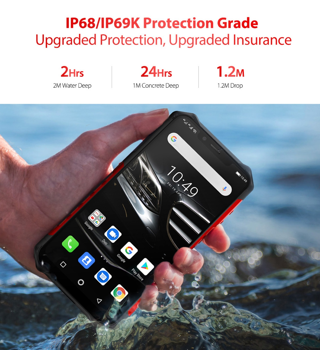 Ulefone Armor 6E Rugged Phone, Dual 4G & VoLTE, 4GB+64GB, IP68/IP69K Waterproof Dustproof Shockproof, Face ID & Fingerprint Identification, 5000mAh Battery, 6.2 inch Android 9.0 Helio P70 (MKT6771T) Octa-core 64-bit up to 2.1GHz, Network: 4G, OTG, NFC, Wireless Charging (Red)