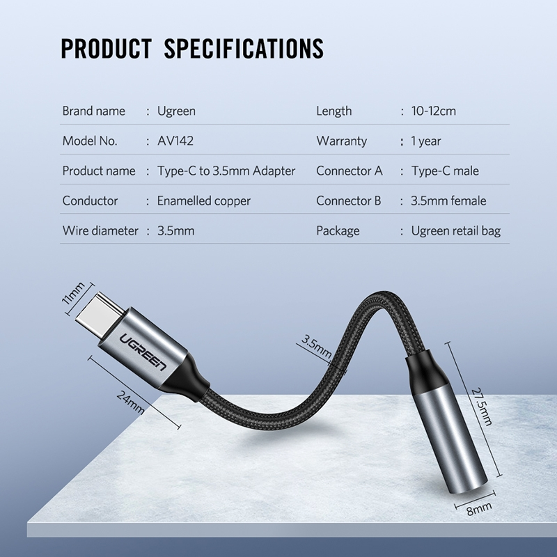 UGREEN 10cm USB-C / Type-C Male to 3.5mm Audio Female Adapter Converter