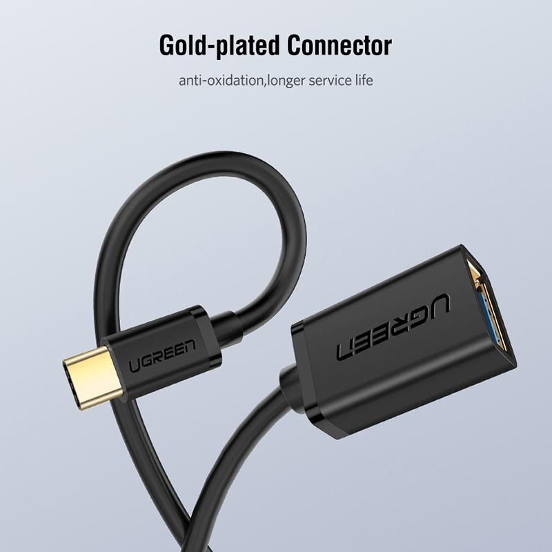 UGREEN 13cm USB 3.0 Female to USB-C / Type-C Male OTG Converter Adapter Cable (Black)