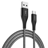 ROCK USB-C / Type-C to USB Metal Weave Style Fast Charging & Sync Round Data Cable (Black)