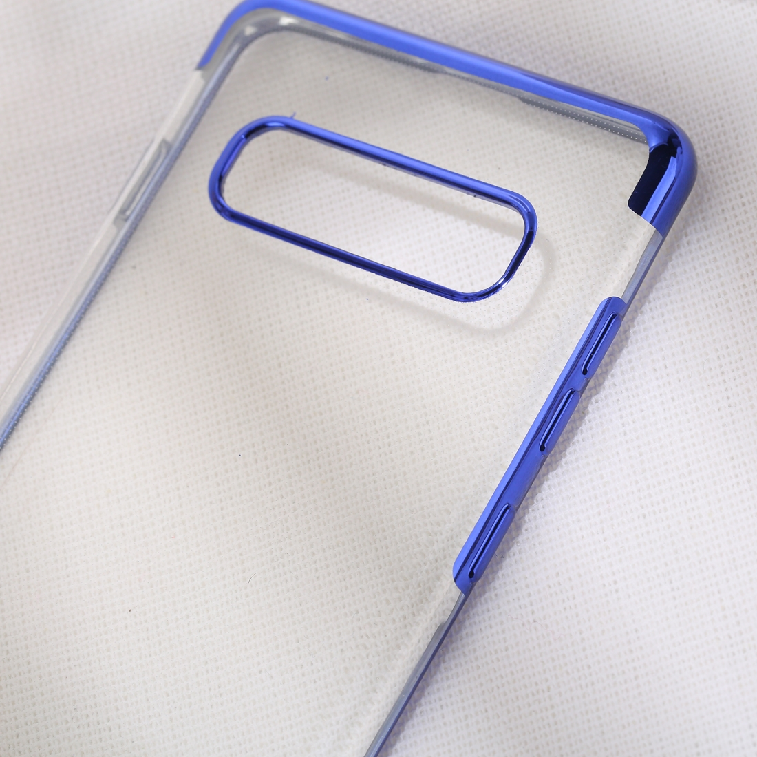 Three Sections Electroplating Side TPU Protective Back Case for Galaxy S10 (Blue)