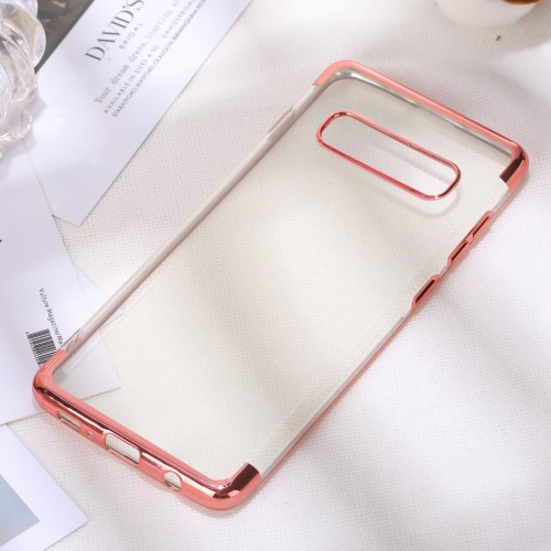 Three Sections Electroplating Side TPU Protective Back Case for Galaxy S10 (Rose Gold)