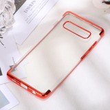 Three Sections Electroplating Side TPU Protective Back Case for Galaxy S10 (Red)
