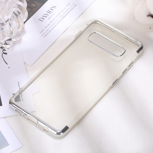 Three Sections Electroplating Side TPU Protective Back Case for Galaxy S10 (Silver)