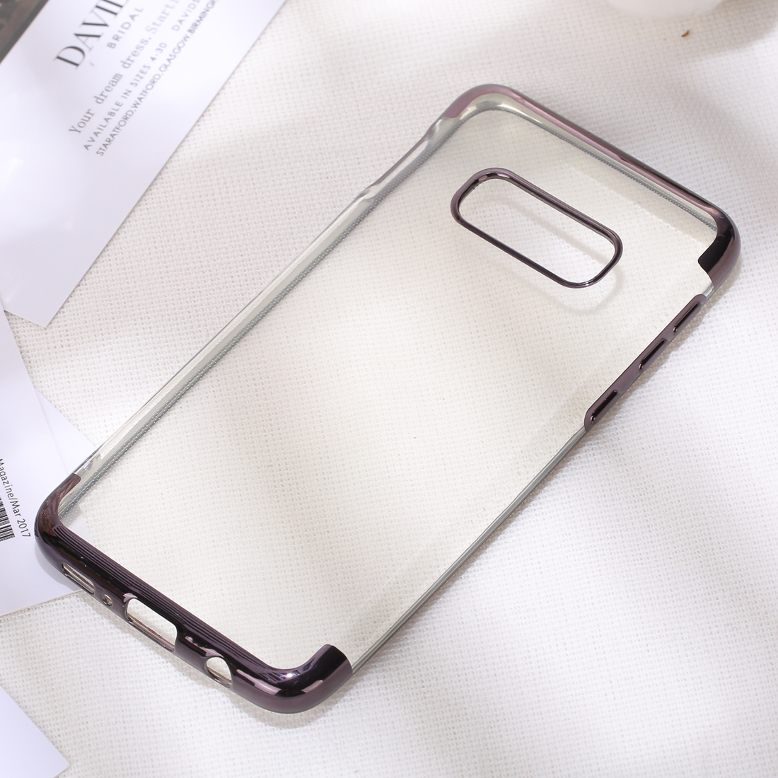 Three Sections Electroplating Side TPU Protective Back Case for Galaxy S10 E (Black)