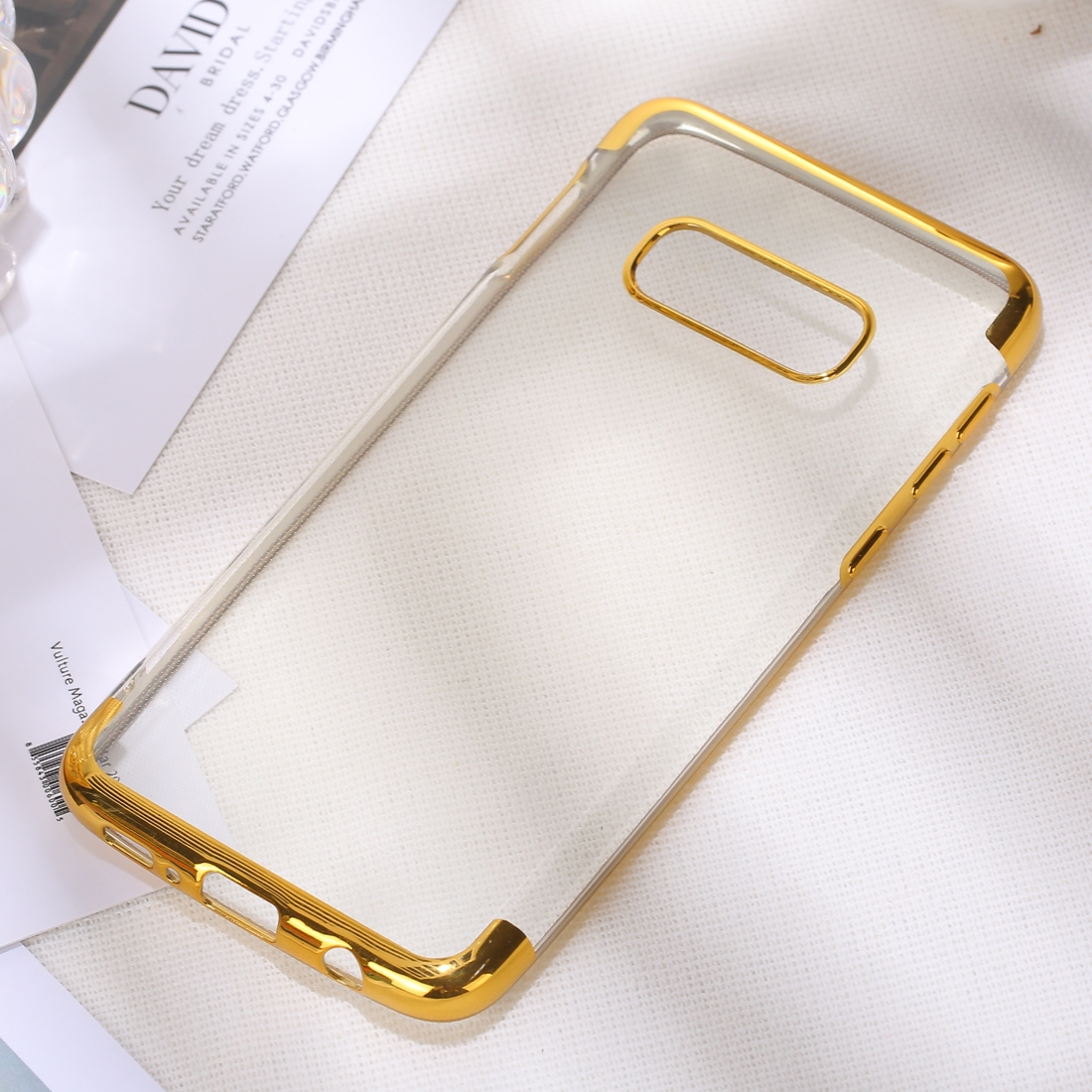 Three Sections Electroplating Side TPU Protective Back Case for Galaxy S10 E (Gold)