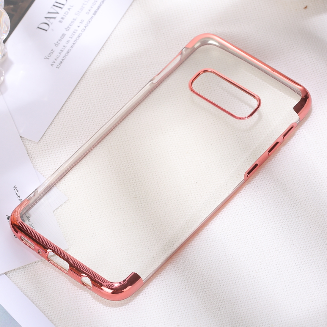 Three Sections Electroplating Side TPU Protective Back Case for Galaxy S10 E (Rose Gold)