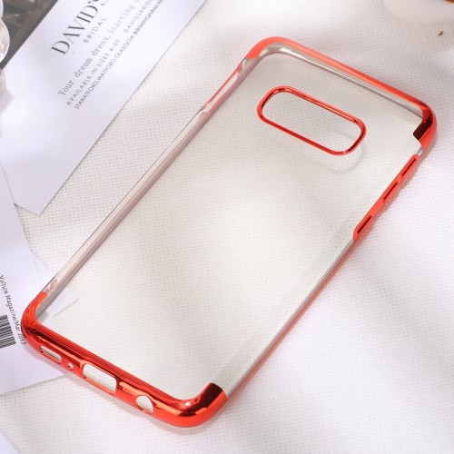 Three Sections Electroplating Side TPU Protective Back Case for Galaxy S10 E (Red)