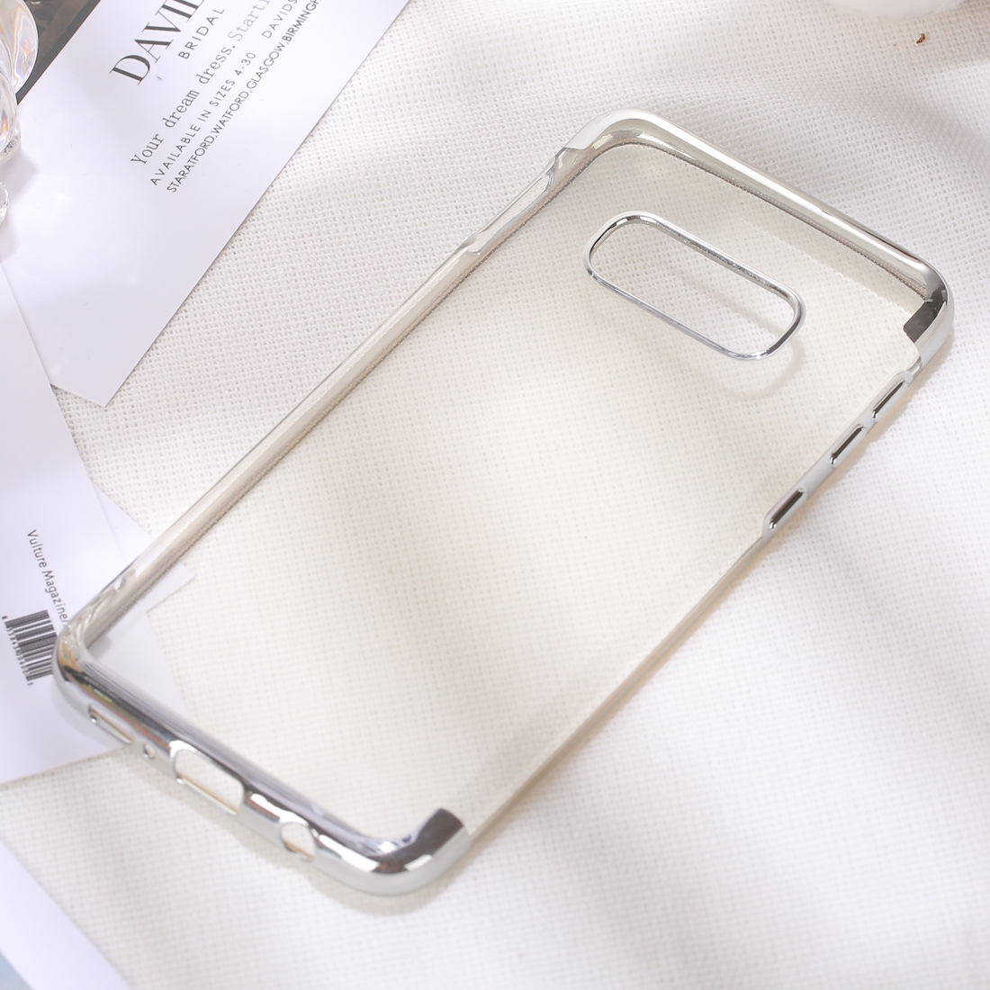 Three Sections Electroplating Side TPU Protective Back Case for Galaxy S10 E (Silver)