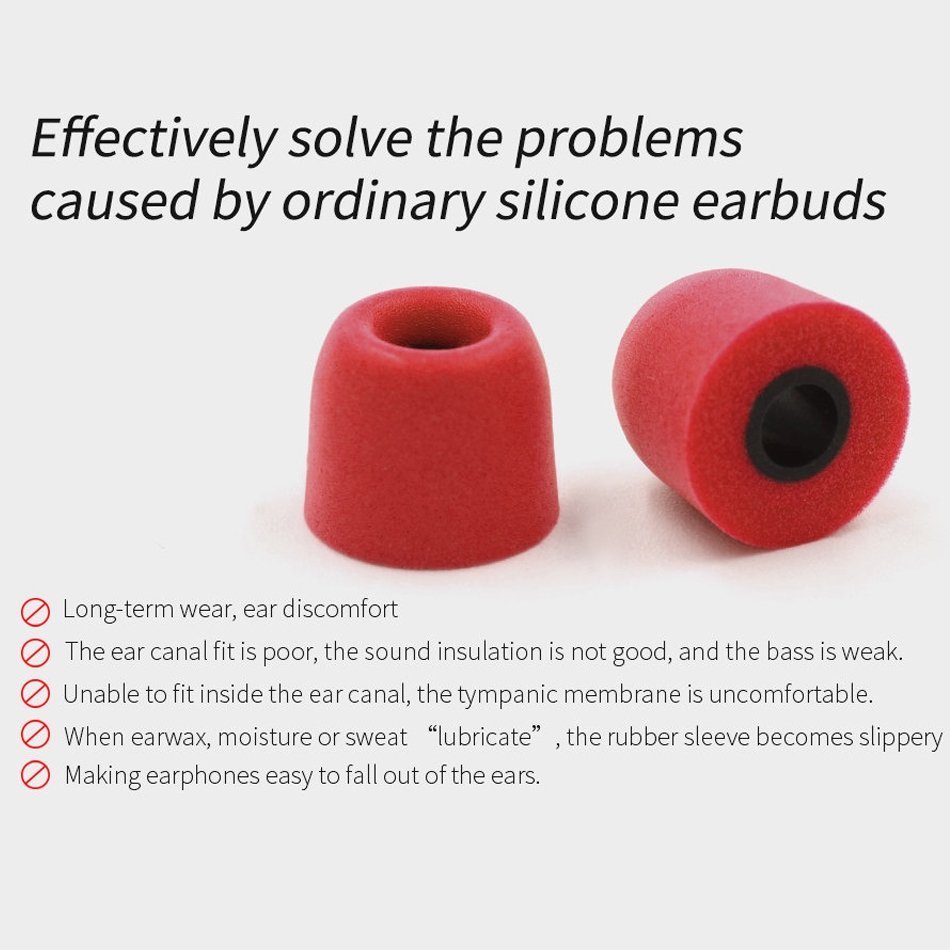 KZ 6 PCS Sound Insulation Noise Reduction Memory Foam Earbuds Kit for All In-ear Earphone, Size: L & M & S (Red)