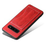 Fierre Shann Full Coverage Protective Leather Case for Galaxy S10 with Holder & Card Slot (Red)